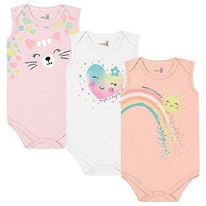 Kit Body Regata Bebê Menina Iris Bailarina Tricolor Kiko Baby