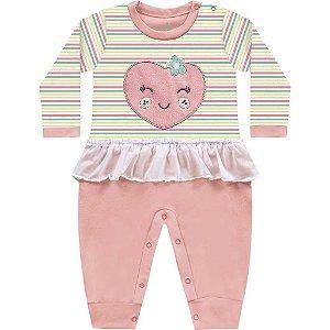Macacão Bebê Menina Coração Frutinhas Bailarina Amarelo Kiko Baby