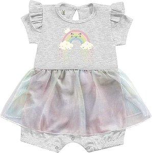 Macacão Curto Romper Bebê Menina Frutinhas Bailarina Cinza Kiko Baby