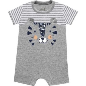 Macacão Curto Romper Bebê Tiger Cinza Mescla Kiko Baby