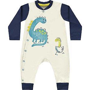 Macacão Bebê Algodão Little Dino Areia Kiko Baby