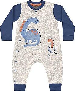 Macacão Bebê Algodão Little Dino Cinza Mescla Kiko Baby