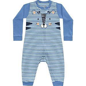 Macacão Bebê Suedine Mini Tiger Azul Claro Kiko Baby