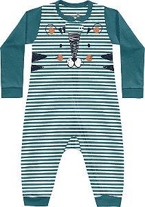 Macacão Bebê Suedine Mini Tiger Verde Pavão Kiko Baby