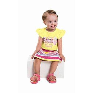 Conjunto Bebê Menina Body Saia Listras Love Frutinhas Amarelo