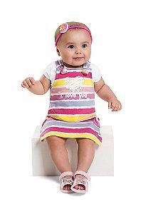 Conjunto Vestido Salopete Bebê Menina Listras Love