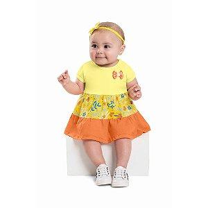 Vestido Body Bebê Flowers Lacinho Amarelo