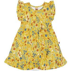 Vestido Infantil Flowers Babadinho Amarelo