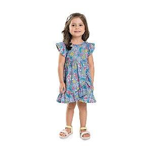 Vestido Infantil Flowers Babadinho Azul