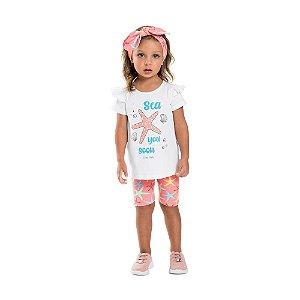 Conjunto Infantil Menina Curto c/ Faixa Estrela do Mar Coral