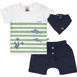 Conjunto Bebê Camiseta Bermuda Babador Shark Branco