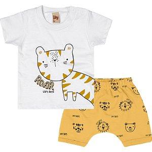 Conjunto Bebê Camiseta Bermuda Mini Tiger Roar Amarelo