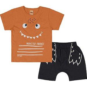 Conjunto Infantil Curto Menino Camiseta Bermuda Monster Cenoura