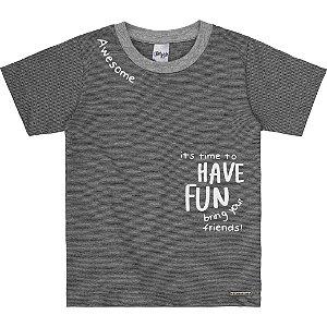 Camiseta Infantil Menino Have Fun Cinza