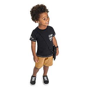 Conjunto Infantil Menino Camiseta Bermuda Good Time Preto