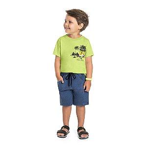 Conjunto Infantil Menino Camiseta Bermuda Paradise Limão