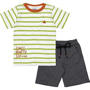 Conjunto Infantil Menino Camiseta Bermuda Listras Verde