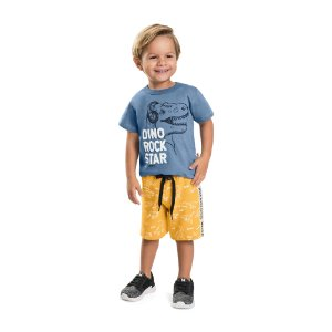 Bermuda Infantil Menino Moletom Careca Dino Amarelo