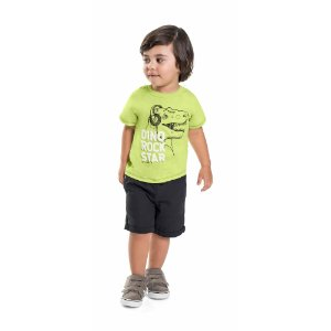 Camiseta Infantil Menino Dino Rock Star Limão