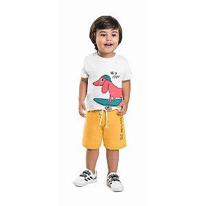 Conjunto Infantil Curto Menino Camiseta Bermuda Salsicha Amarelo
