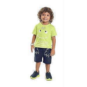 Conjunto Infantil Curto Menino Camiseta Bermuda Monster Limão