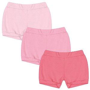 Kit Shorts Cobre Fraldas Bebê Menina Liso Rosa Kiko Baby