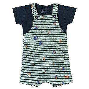 Macacão Jardineira Bebê Infantil Barquinhos Verde