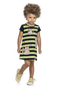 Vestido Infantil Menina Gatitta Listas Amarelo