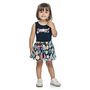 Conjunto Infantil Menina Regata Short Frutinhas Marinho