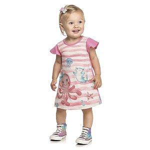 Vestido Bebê Infantil Menina Fundo do Mar Rosa