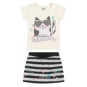Conjunto Infantil Menina Camiseta Saia Gatitta Listras Creme