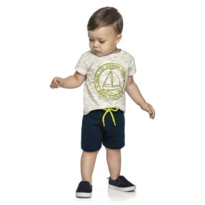 Conjunto Bebê Infantil Camiseta Bermuda Barquinhos Branco