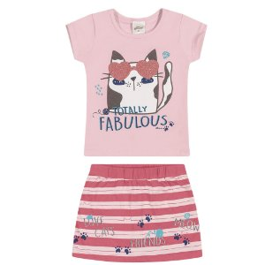 Conjunto Infantil Menina Camiseta Saia Gatitta Listras Rosa