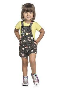 Macacão Jardineira Infantil Menina Yes Rock Amarela