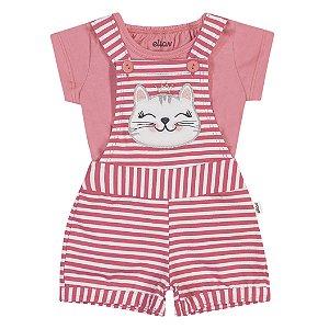 Macacão Jardineira Bebê Infantil Gatitta Frutinhas Rosa