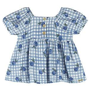 Blusa Bata Infantil Menina Frutinhas Siciliano Azul Colorittá
