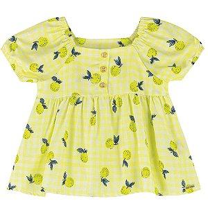 Blusa Bata Infantil Menina Frutinhas Siciliano Amarelo Colorittá