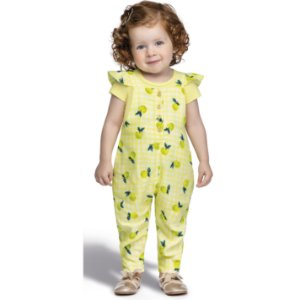 Macacão Jardineira Infantil Menina Frutinhas Siciliano Amarelo Colorittá