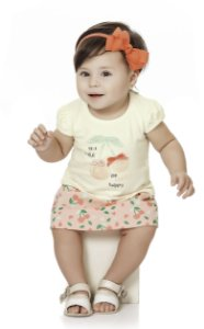 Conjunto Bebê Menina Infantil Blusa Saia Cherry