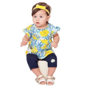 Conjunto Bebê Menina Infantil Bata Legging Tropical