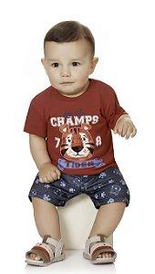 Conjunto Bebê Menino Infantil Camiseta Bermuda Moleton Champs