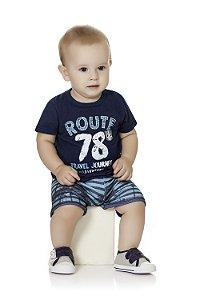 Conjunto Bebê Menino Infantil Camiseta Bermuda Moleton Route