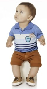 Camiseta Polo Bebê Menino Ursinho