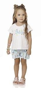 Conjunto Bebê Menina Infantil Blusa Shorts Aloha