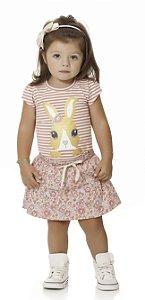 Conjunto Bebê Menina Infantil Blusa Shorts Saia Bunny