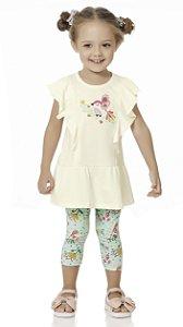 Conjunto Bebê Menina Infantil Bata Legging Passarinho
