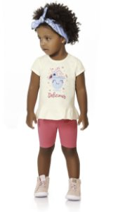 Conjunto Bebê Menina Infantil Camiseta Bermuda Sundae