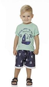 Conjunto Bebê Menino Infantil Camiseta Bermuda Moleton Sailing