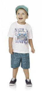 Conjunto Bebê Menino Infantil Camiseta Bermuda Tactel Waves