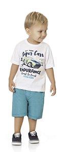 Conjunto Bebê Menino Infantil Camiseta Bermuda Tactel Super Cars
